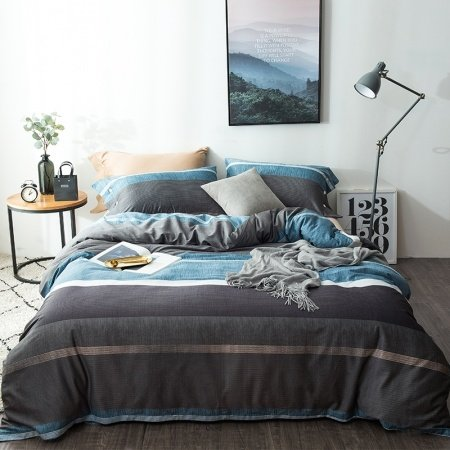 dark gray white and blue wide stripe print simply shabby chic ombre masculine full queen size. Black Bedroom Furniture Sets. Home Design Ideas