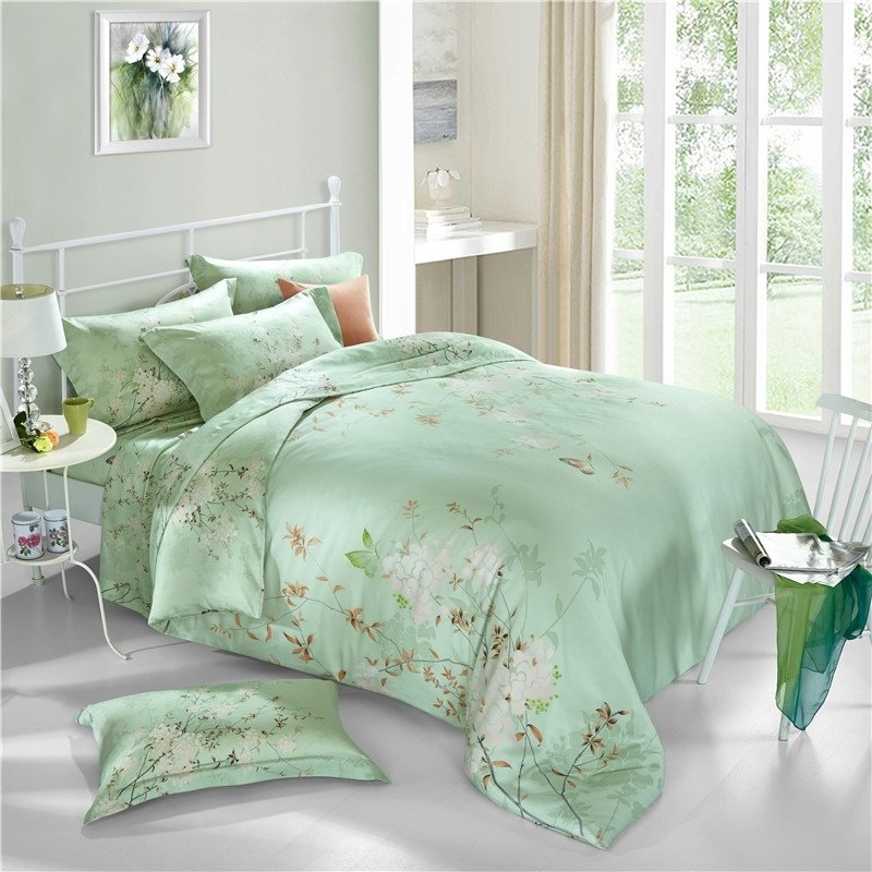 Mint Green White And Rust Brown Butterfly And Beautiful Flower Print Tropical Hawaiian