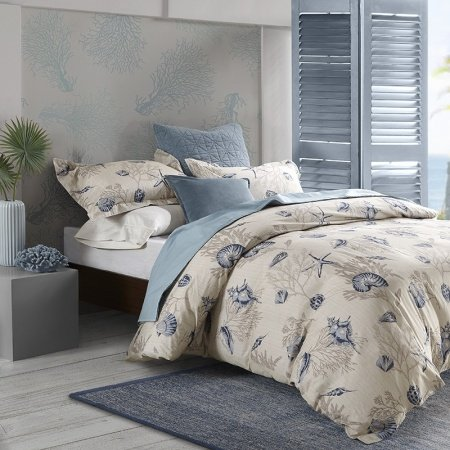 Beige Gray And Blue Ocean Themed Seashell And Coral Print