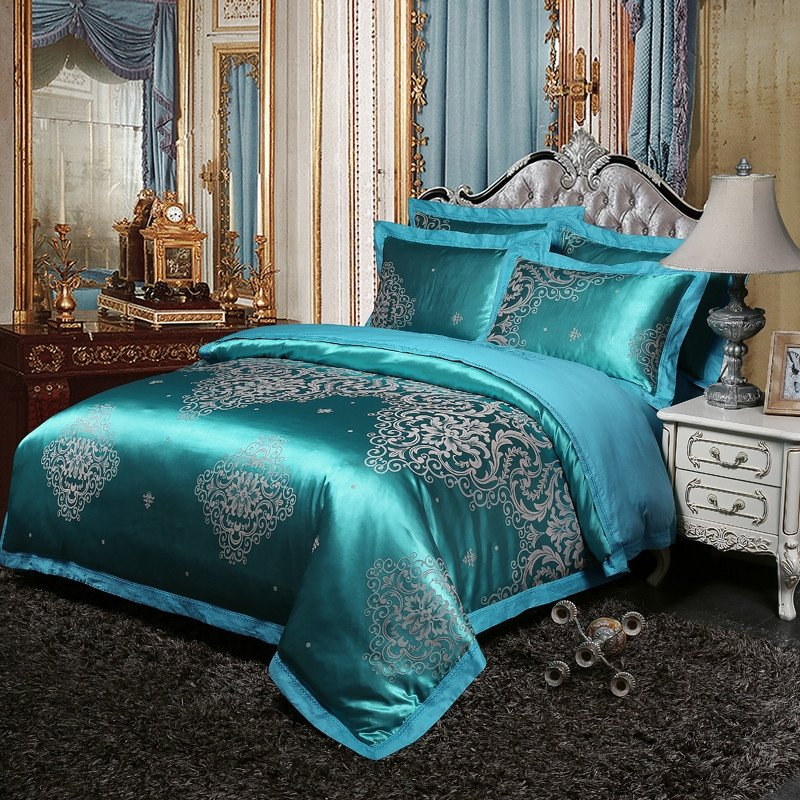 Glam Royal Style Teal and Silver Gothic Pattern Luxury Jacquard Satin Full,  Queen Size Bedding Sets