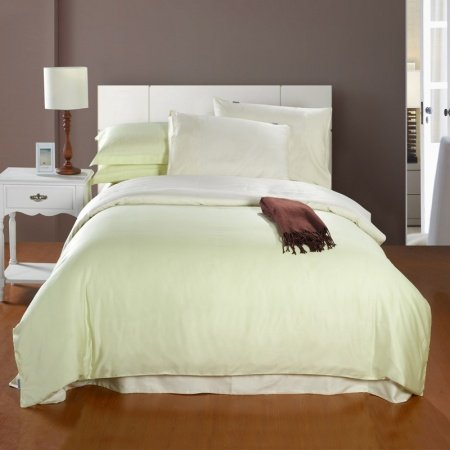 Cream White Solid Pure Color Simply Chic Full, Queen Size 100% Woven Cotton Bedding Sets