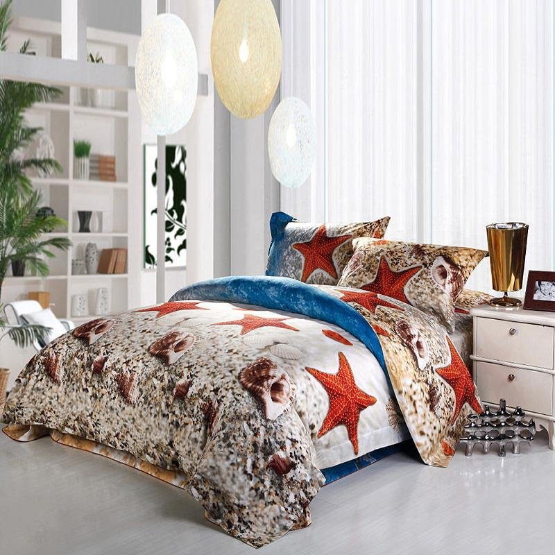 Royal Blue Brown and White Ocean Life Starfish and Sea Shell Print Coastal Living Full Size Kids Bedding Sets