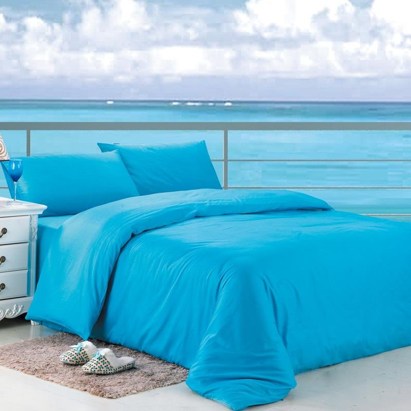 Solid Acid Blue Pure Color Simply Chic Fresh World Style Full, Queen Size 100% Cotton Bedding Sets