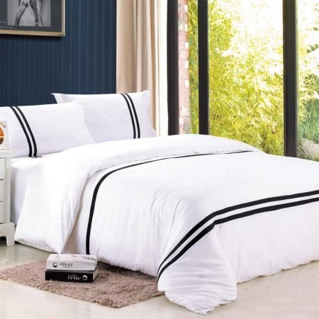Black and White Luxury Damask Full, Queen Size Romantic 5 Star Hotel Style Modern Design Bedding Sets
