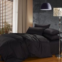 Luxury Solid Black Pure Color 100% Cotton Satin Reactive Printed Simply Modern Chic Full, Queen Size Bedding Sets