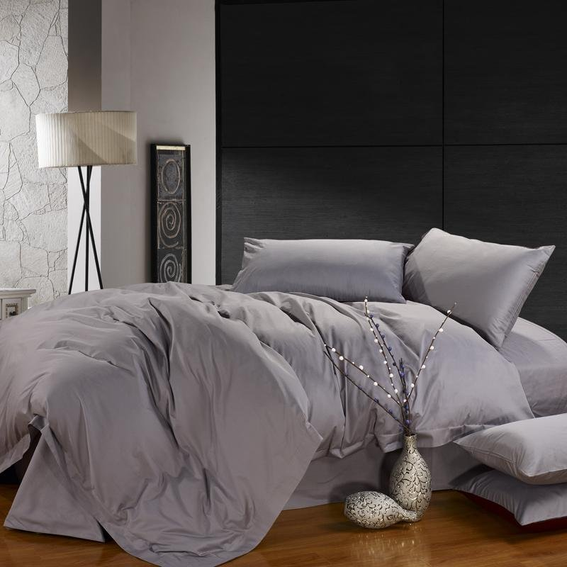 Solid Silver Grey Pure Color Reactive Printed Simply Modern Chic Full, Queen Size Cotton Satin Bedding Sets