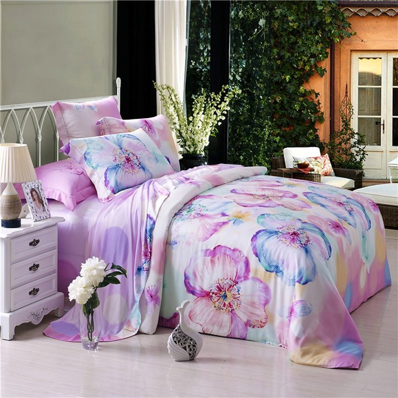 Purple White and Blue Abstract Chic Flower Print 100% Modal Tencel Full, Queen Size Bedding Duvet Cover Sets