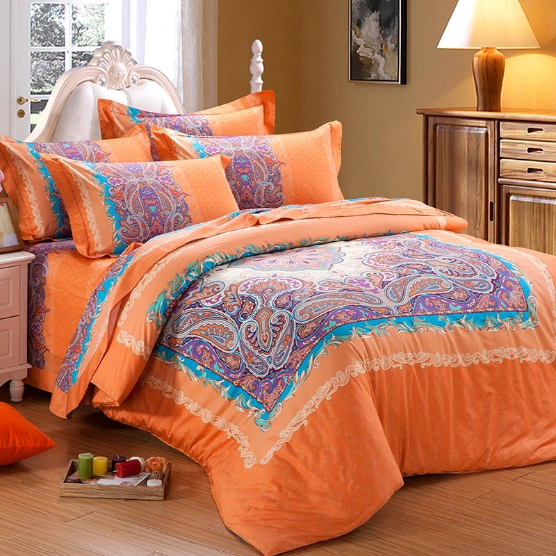 Orange and Purple Bright Colorful Western Paisley Park Pop and Buffalo Plaid Print 100% Cotton Satin Bedding Sets