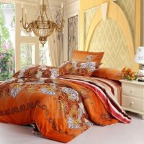 Rust Orange White and Purple Western Paisley Pop Print with Wide Stripe Full, Queen Size Tribal Bedding Sets
