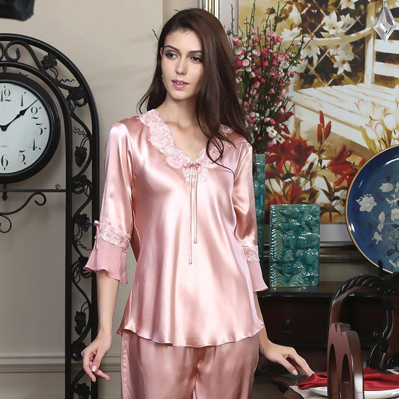 Pink Summer Chinese Silk Pajamas Lace Princess for Teen Girls