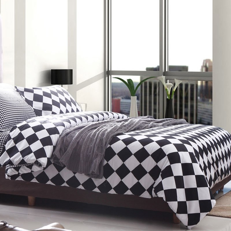 Black and White Abstract Design Gingham Plaid Print Full, Queen Size Durable 100% Cotton Bedding Sets