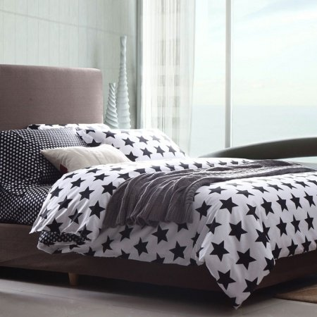 Black and White Abstract Star Print Full, Queen Size Durable 100% Cotton Bedding Sets