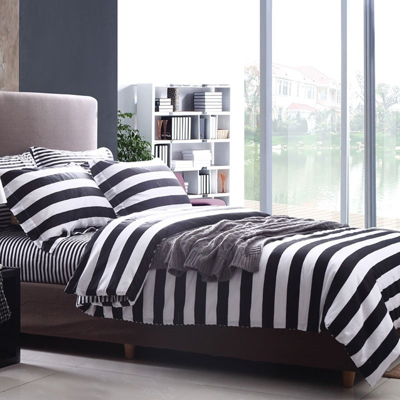 Black and White Abstract Design Stripe Print Full, Queen Size Durable 100% Cotton Bedding Sets