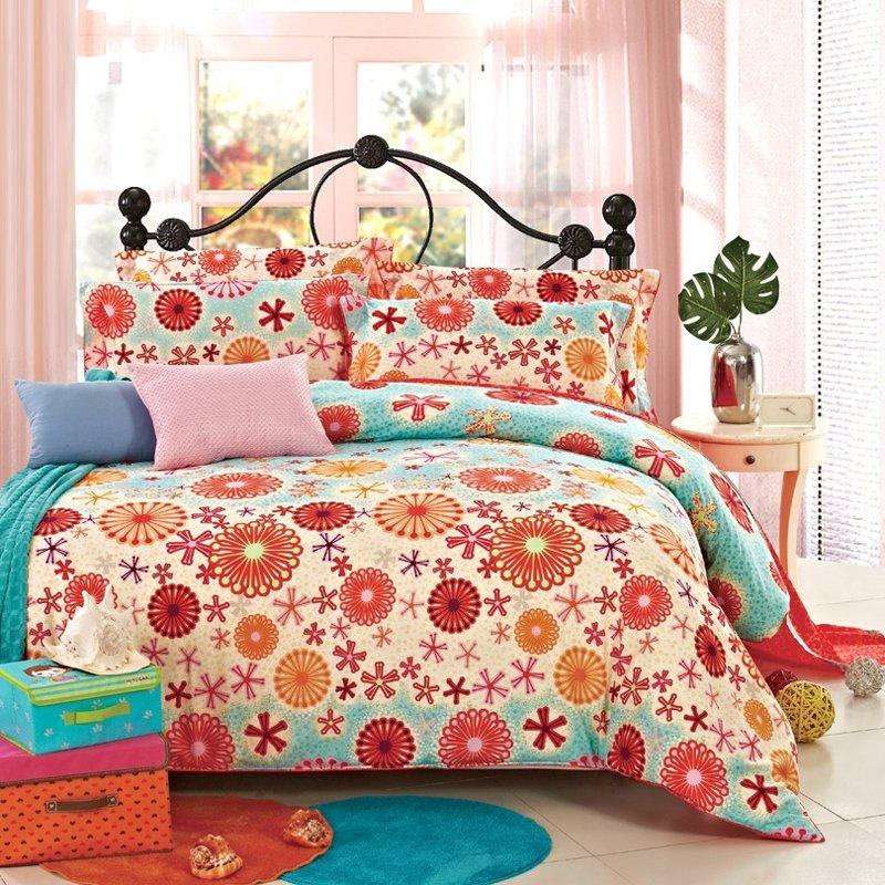 Orange Beige and Aqua Blue Tribal Flower 4 Pieces Full, Queen Size 100% Cotton Bedding Sets