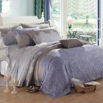 Blue Grey and Brown Royal Paisley and Bohemian Shabby Chic Indian Pattern 100% Egyptian Cotton Full, Queen Size Bedding Sets