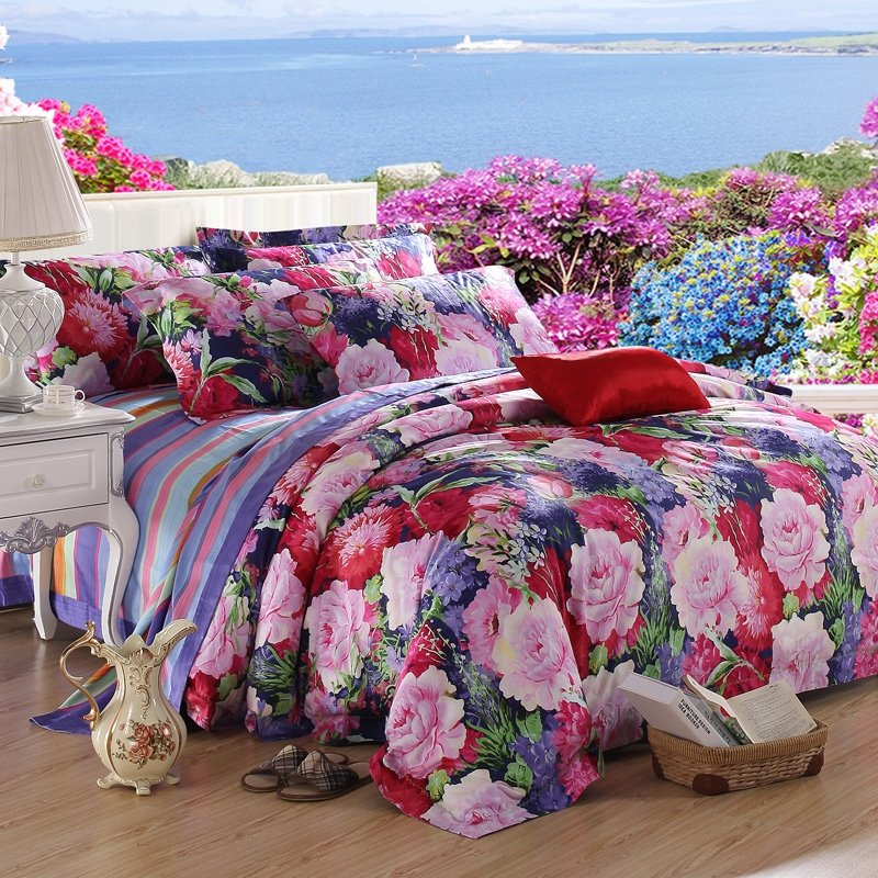 Dark Blue Red Pink and Green Oriental Flower Jungle Safari Themed Traditional Nature 100% Egyptian Cotton Full, Queen Size Bedding Sets