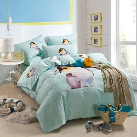 Aero Blue Brown and White Penguin Print Jungle Safari Themed Nature Girls and Boys Twin, Full Size Bedding Sets