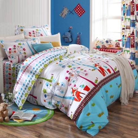 Sky Blue White Red and Brown Fox Print Jungle Safari Cartoon Forest Animal Kids and Teen Twin, Full Size Bedding Sets