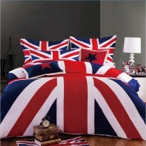 Navy Blue Red and White United Kingdom British Flag Print Twin, Full, Queen Size Bedding Sets