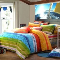 Sky Blue Green and Yellow Red Multi-Stripe Print and Monogrammed Design Bright Colorful Full Size Bedding Sets