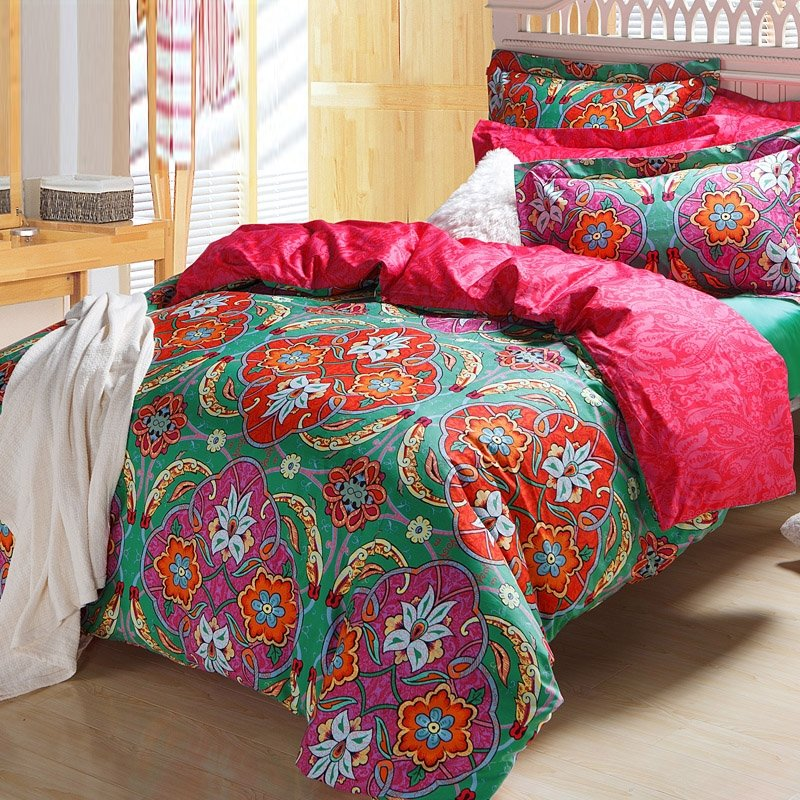 Rose Pink and Mint Green Luxury Baroque Bohemian Style Traditional Western Tribal Print Abstract Design Full, Queen Size Bedding Sets