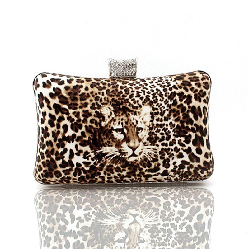 Coffee Brown and Beige Socialite Faux Leather( PU ) Luxury Animal Leopard Print Casual Party Wedding Small Set Auger Lady Clutch Evening Bag