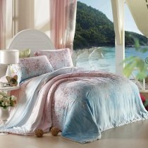 Pink and Sky Blue Country Floral Print Soft Touch 100% Tencel Lyocell Full, Queen Size Bedding Sets