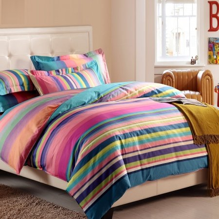 Hot Pink Blue and Green Multi-Color Rainbow Stripe Print Vogue Girls Reactive Printed Soft 100% Cotton Damask Full, Queen Size Bedding Sets