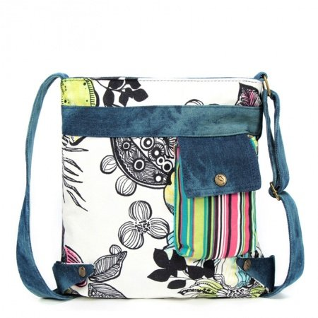 Black White and Denim Blue Personalized Multi-color Pinstripe and Vintage Flower Floral Print Casual Canvas Girls One Shoulder Crossbody Bag