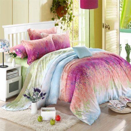 Light Blue and Mulberry Purple Vine Pattern Vintage Chic Rustic Style Nature Luxury Girls 100% Tencel Full, Queen Size Bedding Sets