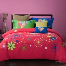 Red Green Beige and Blue Colorful Rosette Pattern Circle Print Modern Chic Unique Cute Girls 100% Cotton Damask Full, Queen Size Bedding Sets