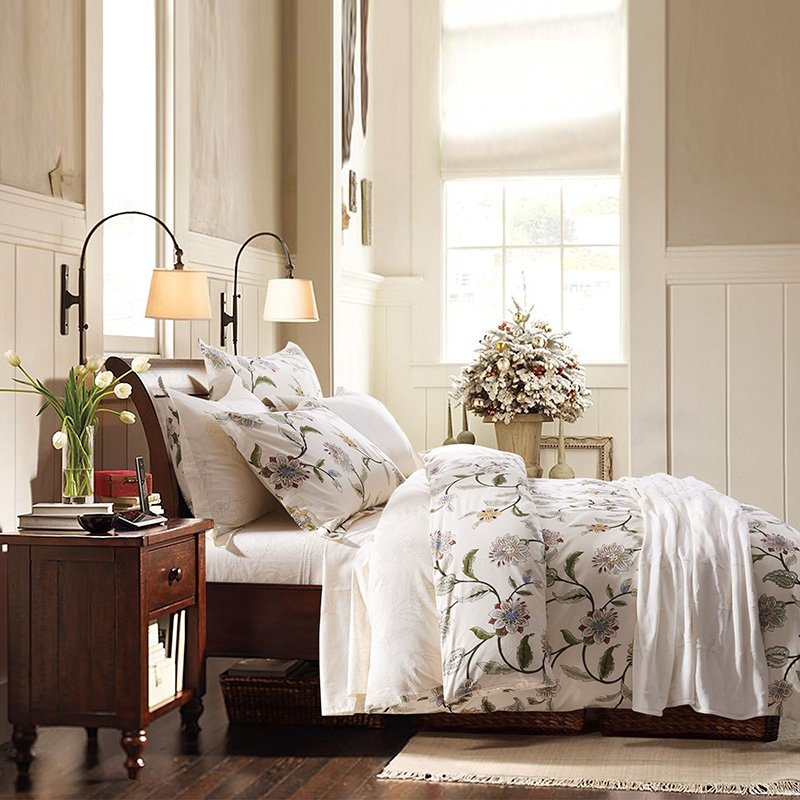 Olive Green and Beige Tropical Vine Flower Print Plant Country Chic Rustic Style Nature 100% Cotton Damask Full, Queen Size Bedding Sets