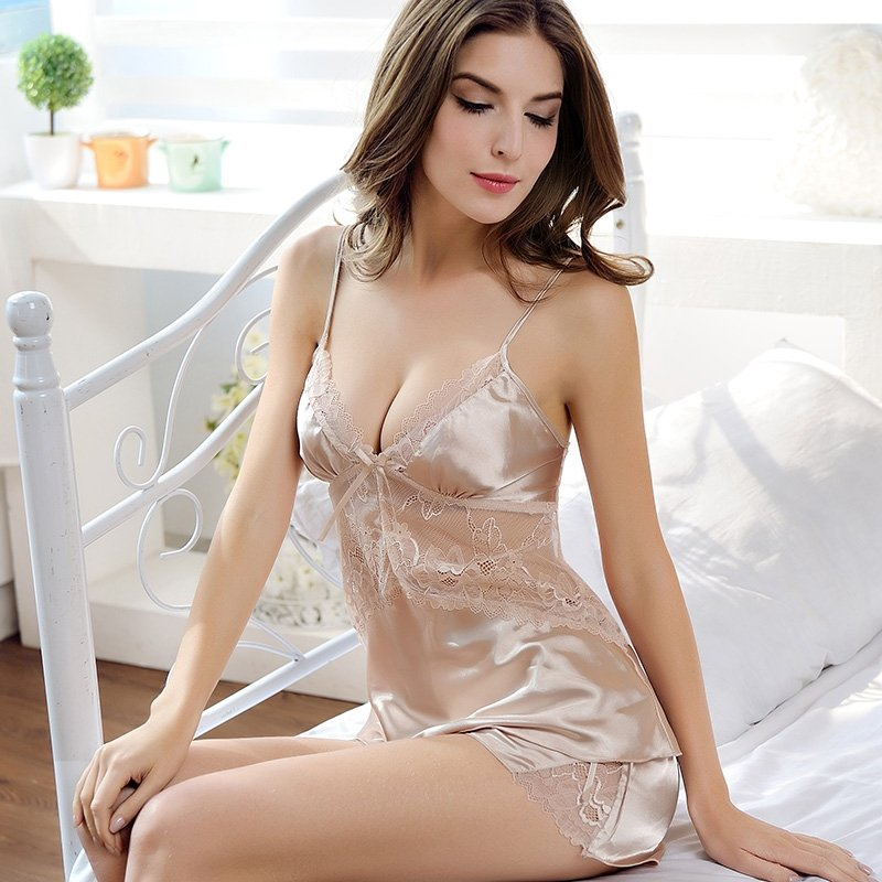 Solid Champagne Thin Imitated Silk Shirt Condole Belt Backless V-neck Hollow Out Floral Lace Free Size Women Sexy Lingerie Slimming Pajamas
