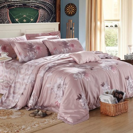 Grey Vintage Flower Rustic Style Geometric Pattern Simply Chic Luxurious Reactive Printed 100% Egyptian Cotton Full, Queen Size Bedding Sets