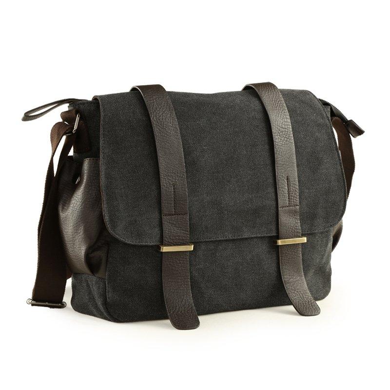 Black Canvas England Preppy Style 10 Inch Men Laptop Bag Contracted Vintage Casual Crossbody Travel Bag Sequined Medium Single Shoulder Bag