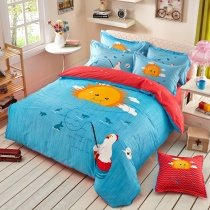 Aqua Orange and White Chicken Fishing Sun Print Cartoon Hipster Style Fashion Girls and Boys 100% Cotton Twin, Full Size Bedding Sets