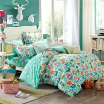Light Turquoise Orange and Red Colorful Flower Garden Botany Rustic Style Organic Cotton Twin, Full Size Bedding Sets