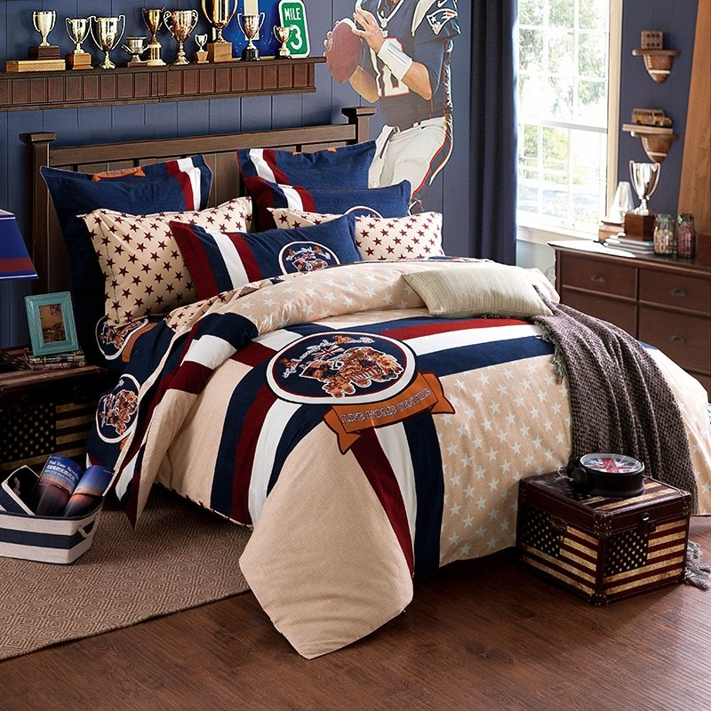 Beige Navy Brown and White Stripe Star Print Color Block Native American Pattern Durable 100% Brushed Cotton Full, Queen Size Bedding Sets