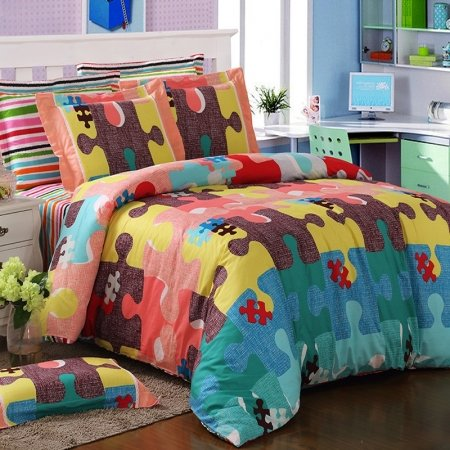 Teal Coral and Yellow Colorful Puzzle Pattern Modern Hipster Style Abstract Design Unique 100% Cotton Damask Full, Queen Size Bedding Sets