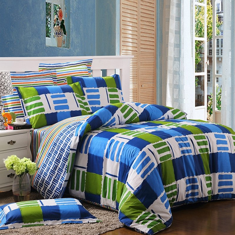 Royal Blue Green and White Unique Plaid Color Block Modern Hipster Style Abstract Design Cool Boys 100% Cotton Full, Queen Size Bedding Sets