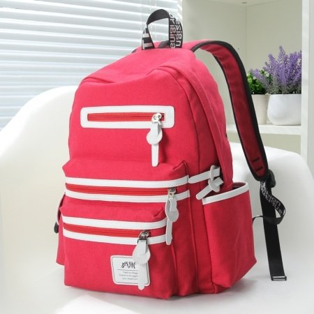 Watermelon Red Canvas with White Leather Trim Girls School Backpack Contracted Color Blocking Sewing Pattern Quilted Travel Bag