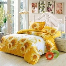 Bright Orange and White Vintage Sunflower Print Rustic Style Girls and Boys 100% Cotton Twin, Full Size Bedding Duvet Cover Sets