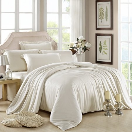 Plain Colored Beige Traditional Fashion Noble Excellence Simply Chic Luxury 100% Tencel Full, Queen Size Bedding Sets