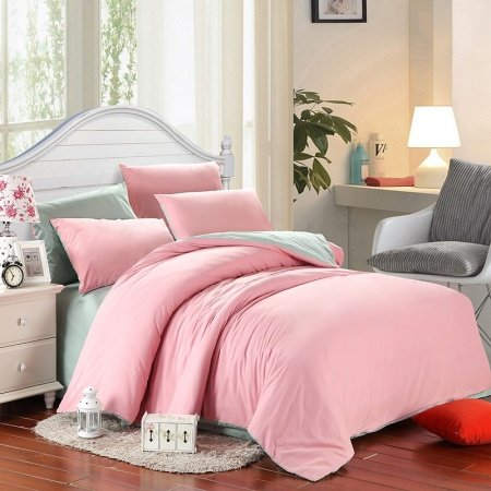 Plain Pink Colored and Magic Mint Modern Chic Cute Style Simply Youth, Adult 100% Brushed Cotton Full, Queen Size Bedding Sets
