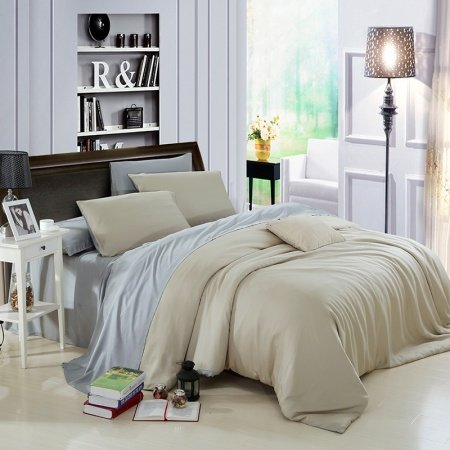 Pure Sage and Plain Gray Colored Luxury Simply Chic Retro Style Expensive Microfiber 100% Tencel Percale Fabric Full, Queen Size Bedding Sets