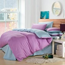 Light Purple and Light Blue Solid Color Modern Chic Elegant Western Style Womens Microfiber 100% Cotton Full, Queen Size Bedding Sets