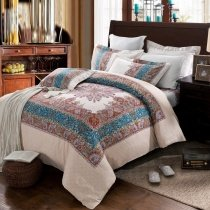 Brown Beige and Royal Blue Moroccan Themed Bohemian Chic Tribal Print Western Style Unique All Cotton Brushed Full, Queen Size Bedding Sets