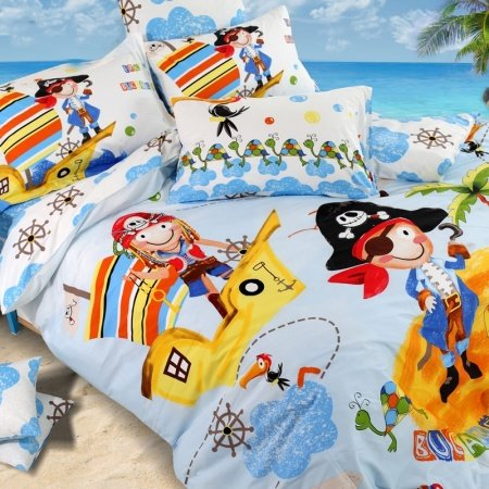 Light Blue Yellow and Orange Pirate Story Marine Life Island Print Unique 100% Cotton Damask Kids Twin, Full, Queen Size Bedding Sets