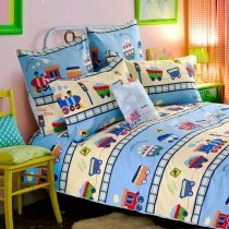Light Blue Beige and Red Train Print Traffic Tool Contemporary Cartoon Unique 100% Cotton Kids Twin, Full, Queen Size Bedding Sets