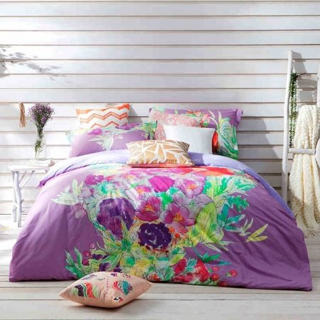Purple Turquoise and Red Southwestern Vintage Flower Print Exotic Personalized Luxury 100% Cotton Damask Full, Queen Size Bedding Sets
